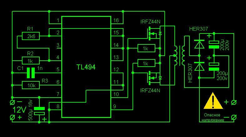 Это двухтактный импульсный преобразователь,собранный на ШИМ-контроллере TL494...